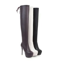 Wholesale White Long Boots Women - Autumn winter Leather Women Long Boots Stiletto Heel Round Toe Martin Boots Platform Sexy Thin Legs Over-the-knee Boots Plus Size 34-43
