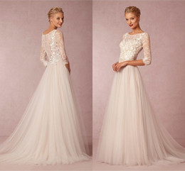 Wholesale Cheap Bridal Long Gowns - 2016 Cheap Vintage Ivory Wedding Dresses Jewel Neck Lace Applique Bridal Gowns 3 4 Sleeve Sweep Train Tulle Wedding Dress