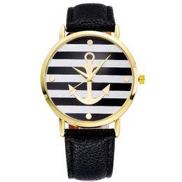Reloj estilo ginebra oro online-Venta al por mayor estilo ancla vestido ginebra reloj mujer color oro rosa Moda reloj mujer vestido relojes cuero relojes