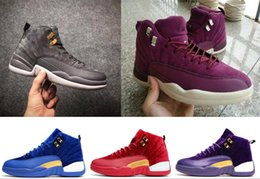 Wholesale wing flats - 2018 high quality 12 Dark Grey Men Basketball Shoes BG Bordeaux Master Wings taxi playoffs Gamma black shoes sport 12s
