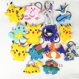 Wholesale Japan Keychain Cartoon - Pocket Monster keychain Poke mon Silicone Pendant Pikachu Poke Ball Keychain Cartoon Alloy Figures Japan Craft Kids Gifts Toy