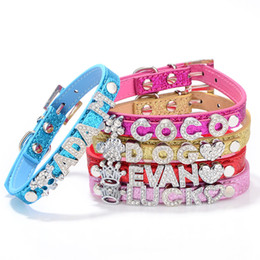 Wholesale Wholesale Croc Pet Collars - Big Sale 50% off! Mix 5colors&4sizes!Croc Pu leather Personalized DIY Name Charm Dog Pet Collar Pet Supplies(Price exclude sliders)