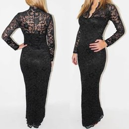 Wholesale Mermaid Scallop Dresses - Fashion Ladies' Sexy V-Neck Slim Scallop Neck Lace Women Maxi Dress Long Sleeve White Black Blue G0123