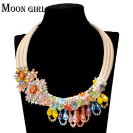 Wholesale Gold Pendant Designs For Women - 100% Crystal beads pendant statement necklace classic New design fashion Bohemia jewelry display Trendy Choker necklace for women