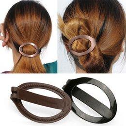 Wholesale Clip Hair Bun Brown - 2pcs lot Women Girls Pressure Hair Updo Clip Fashion Black Brown Hair Bun Maker Barrette Styling Tool Accessories Free Shipping