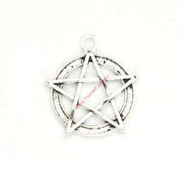 silver pentacle bracelet Promo Codes - 15pcs Antique Silver Plated Pentacle Star Charms Pendants for Bracelet Jewelry Making DIY Necklace Craft 31x28mm