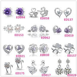 Wholesale Cheap Crystal Earings - Beautiful 925 Silver small Cat Kitty Crystal Heart imitation Diamond flower Stud earings Cheap fashion Jewelry for women