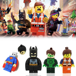 Wholesale promotional usbs - Superman Batman Lego PenDrives Movice Promotional Gift Film USB Stick Flash Memory Drives 1GB 2GB 4GB 8GB 16GB Opp Bag