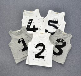 Wholesale Cute Boy Tank Top - Wholesale INS Boys Girls Baby Tank Top 100% Cotton Summer Tops Tees Baby Kids Clothing Cute Geometric Clothes High Quality tshirts