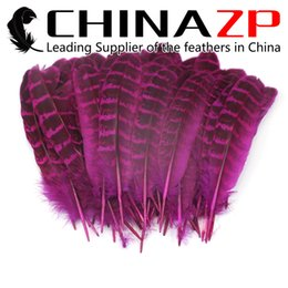 Wholesale hot hen party - CHINAZP Factory high quality Hot Pink Dyed Natural Ringneck Hen Pheasant Round Quill Wing Feathers for Costume Projects