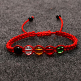 Wholesale braided bead cord bracelet - New Red Knitted Bracelets Cords Braided Rope Woven Handmade Friendship Lovers beads Bracelets for Best Friends Christmas Jewelry gift