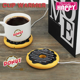 Wholesale Coffee Cup Wholesale China - Newest Creative Giant Donut USB Cup warmer,Cute Hot Cookie Mug Warmer Coaster Office Tea Coffee Beverage USB powered Heater Biscuit Tray Pad