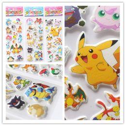 Wholesale Sticker For Children Day - Poke Pokémon go Pikachu 3D Stickers new children cartoon Pikachu Charmander Jeni turtle 3D PVC Stickers fast shipping