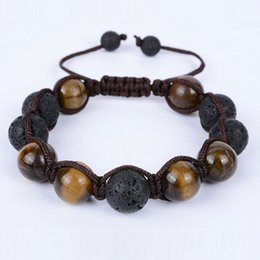 Wholesale Tiger Stone Rings - European women and men's tiger eye stone beaded bracelets new weave adjustable handmade strands bracelets jewelry accessories