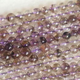 """Wholesale Super Melody Stone Bracelets - Wholesale Genuine Natural Purple Super Seven Super 7 Round Loose Small Beads Melody Stone Fit Jewelry Necklace Bracelets 16"""" 04160"""