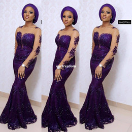 black lace aso ebi dress Coupons - Aso Ebi Style Purple Mermaid Evening Dresses For South Africa 2019 New Style Long Sleeve Illusion Neck Shining Lace Formal Occasion Gown