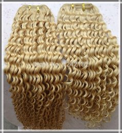 "Wholesale Blind Machine - 100% Virgin Malaysian Kinkly Curly Hair Extensions 10-30"" Double Weft Human Remy Hair Weave Bleach Blinded Color Hair Extension"