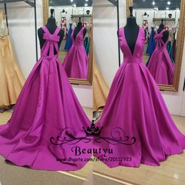 Wholesale Bow Dress Victorian - Victorian 2K17 Purple Formal Dresses Evening Wear 2018 Customized Plus Size A Line Deep V Neck Backless Long Prom Gowns Arabic Vestidos