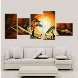 Wholesale Sun Painting Modern Art - Handpainted Oil Painting On Canvas Abstract landscape Art sun Paintings Modern Home Room Decoration Picture 5pcs 261