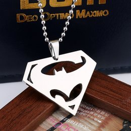 Wholesale Mark Batman - Superman VS Batman Stainless Steel Necelaces Cartoon Superma And Batman Mark Pendant Necklaces Stainless Steel Pendant With Chain