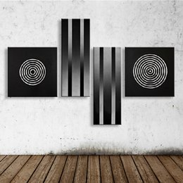 Wholesale modern abstract acrylic painting - Modern Abstract Circle Geometric Oil Painting On Canvas Home Decor Wall Art Handpainted Black Acrylic Paintings 4 Panel Pictures