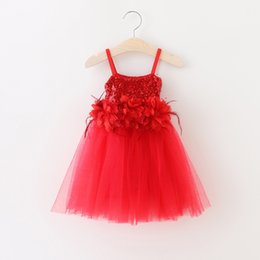 Wholesale Wholesale Kids Feather Dresses - Girls Lace Sequined Party Dresses Baby Girl 3D Floral Feather Dress Kids Girl Princess tutu Dress 2016 Babies Autumn Christmas clothing
