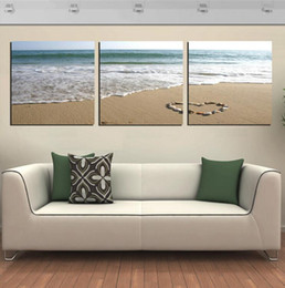Wholesale Modern Romantic Paintings - 3 Panels Wall Art Pictures Romantic Beach Lovely Stone Seascape Painting On Canvas Room Decor Modern Drawing Room Decoration