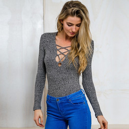 Wholesale Autumn Cross Stitch - 2015101905 Charcoal lace up Autumn knitted tops Sexy v neck casual women sweater Slim long sleeve elastic pullover cross