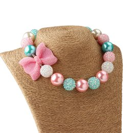 Wholesale Chunky Bow Necklaces - Princess Sweety Pink Bow Chunky Necklace DIY Toddler Girls Jewelry Accessories Birthday Party Jewelry Gift for Girls Dress Up