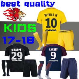 Wholesale Boys Football Kits - kids Kits child Football Shirt survetement verratti Black third cavani di maria maillot de foot 17 18 boys Mbappe Draxler NEYMAR JR JERSEY