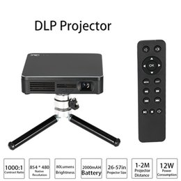 Wholesale Video Camera Hdmi - HDP200 DLP LED Projector HD 1000:1 Contrast Ratio WiFi Miracast Airplay HDMI With Tripod for Home Theater Phones PC Game Camera