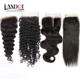 Wholesale Deep Waves Human Hair - Brazilian Virgin Human Hair Lace Closure Peruvian Malaysian Indian Cambodian Mongolian Body Wave Straight Loose Deep Kinky Curly Closures