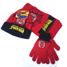 Wholesale Wholesale Scarves Hats Gloves - 2017 Promotion Hot Sale Winter Newest free Shipping Kids Cars-plex&spider-man Quality Children Hat & Glove &scarf 3sets 2-8 Years