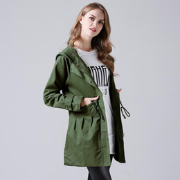 Wholesale green hoodie trench - Plus Size Women Trench Coat Fashion Winter Female Long Slim Coats Street Casual Hoodies Outwear Windbreaker Green Jackets Clothes