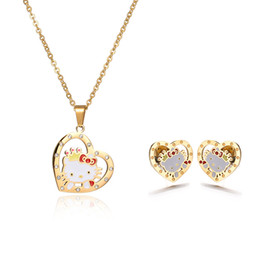 Wholesale Kitty Necklace Crystal - Factory Direct Top Quality Hello Kitty Seris Jewelry Stainless Steel Kids Jewelry Sets Necklace And Earring Sets Mixed Style