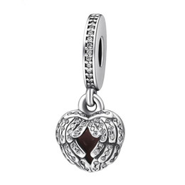 Engelsflügel für armbänder online-Engel Flügel Charm Anhänger 925 Sterling Silber Baumeln Pflastern Clear Crystal Feather Heart Charms Perlen DIY Marke Logo Armbänder Schmuck