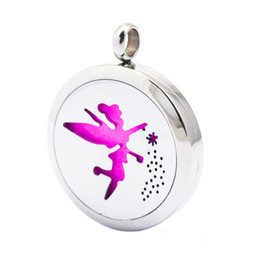 Wholesale Plain Stainless Steel - 1pcs 30mm plain Angel Aromatherapy Essential Oil surgical Stainless Steel Perfume Diffuser Locket Necklace with chain
