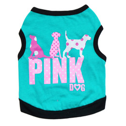 Wholesale Dog Clothes Shirts - Free Shipping 2016 Lovely Fashion Pink Letter Pet Puppy Dog Vest Clothes Summer Dog Shirt Small Dogs Clothing 4 Colors