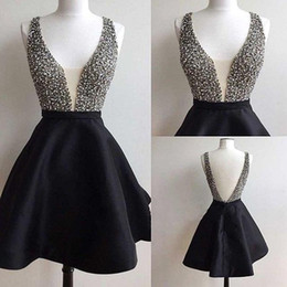 Wholesale Plunge Mini Dress - Little Black Short Homecoming Dresses 2018 Sexy Plunging V Neck Crystals Beaded Short Cocktail Party Gowns Cheap Custom Made BA5288