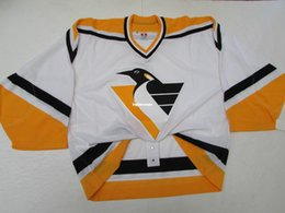 Wholesale Ice Hockey Goalie Jersey - Cheap custom PITTSBURGH PENGUINS AUTHENTIC CCM 6100 TEAM ISSUED JERSEY GOALIE CUT RARE Mens Throwback jerseys