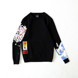 Wholesale Mens Cashmere Sweaters Fashion - 17FW OXY National tide mens women hoodies three-dimensional embroidery waves cherry blossom couple round neck collar cashmere sweater lovers