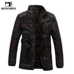 Wholesale Slim Sheepskin Long Coat - Wholesale- Kenntrice Autumn Winter Men's Leather Trench Coat Long Double Breasted Brand Sheepskin Fur Coat Jaqueta Couro Leather Jacket Men