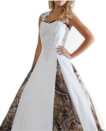 Wholesale One Shoulder Wedding Ball Gowns - 2016 New Sexy Camouflage Wedding Dresses With Appliques Ball Gown Long Wedding Party Dress Bridal Gowns