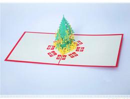 Mão que faz cartões on-line-2017 Cartões de Presentes de Aniversário de Natal Cartões 3D Sólida Árvore De Natal Feitas À Mão Cartão de Ano Novo Vermelho Amarelo Cor de Atacado