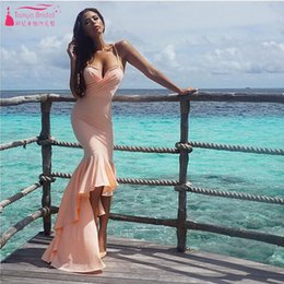 Wholesale Cheap Import Dress - Sexy Fashion Prom Dresses vestido de festa curto High Low Evening Dresses Spaghetti imported party dress Cheap Gowns