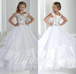 Wholesale Crystal Beads For Make Flowers - Long Kids Girl's Pageant Party Dresses Cap Sleeves Lace Up Back Princess Tiered Tulle Crystal Flower Girl Dresses Gowns For Teens BO9920
