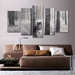 Wholesale One Piece Canvas Oil Paintings - Stalking Wolf ,5 Pieces Home Decor HD Printed Modern Art Painting on Canvas (Unframed Framed)