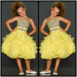 Wholesale Custom Glitz Pageant Dresses - Cute Yellow Beaded Crystal Halter Pageant Dresses for Girls 2017 Ruffles Organza Glitz Pageant Dress Kids Prom Dresses