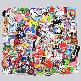 Wholesale Vinyl Stickers Phone - 400 Pcs Mixed Funny Cartoon Stickers for Phone Skateboard Luggage Car Styling DIY Decals Laptop JDM Doodle Decoration Stickers
