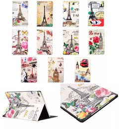 Wholesale Ipad Mini Cases Paris - Retro Paris Eiffel Tower Flower London Big Ben Car Skin Flip leather Stand cover case For Apple Ipad Mini 1 2 3 4 Mini4 30pcs 50pcs